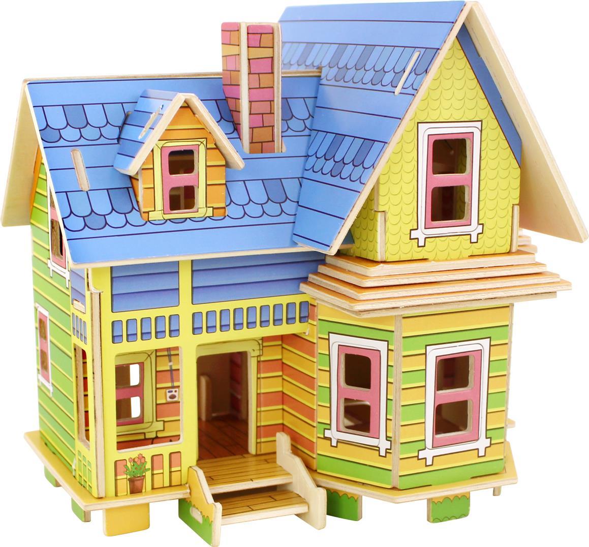 Drevené 3D puzzle skladačky Robotime Amelia domček pre bábiky