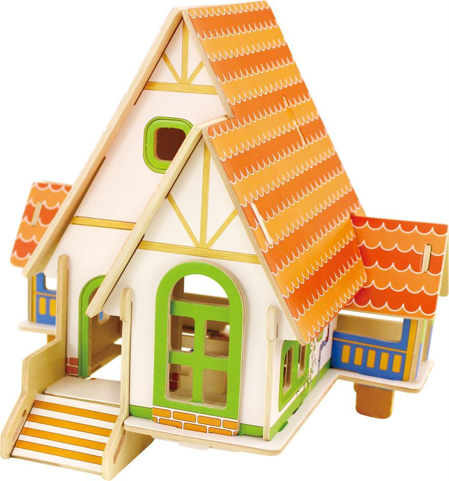 RoboTime Drevené skladačky 3D puzzle - Violet domček pre bábiky