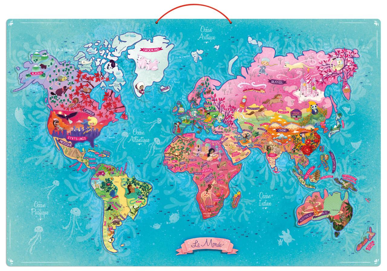 Vilac Nástenná magnetická mapa sveta 65 dielikov