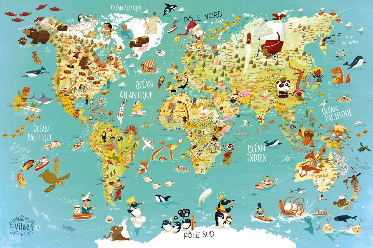 Vilac Puzzle mapa sveta 500 dielikov