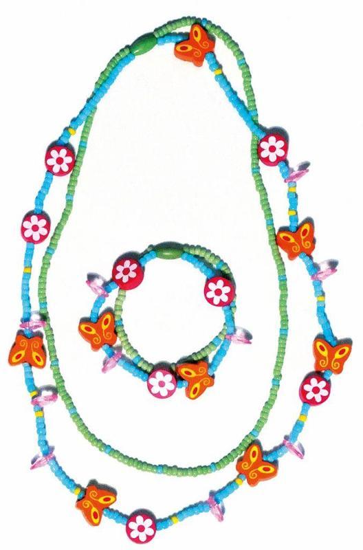 Woody Súprava dvojitý náhrdelník a náramok - Motýliky a kvety