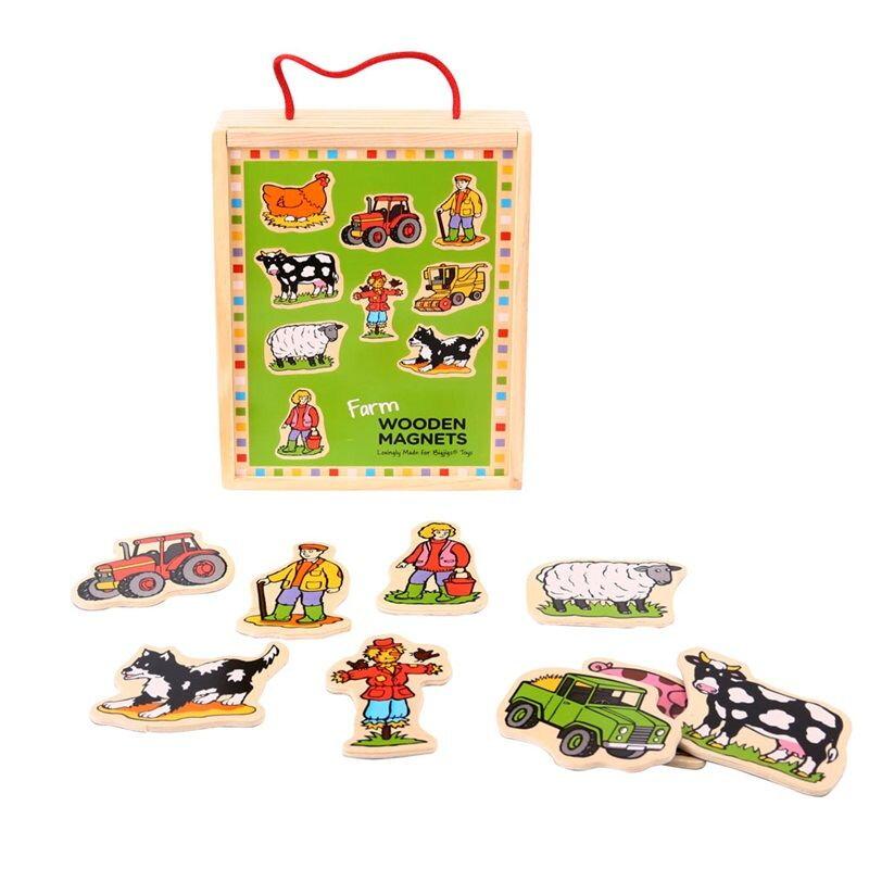 Bigjigs toys drevené magnetky - Farma 20ks 0b1a51d5cf8