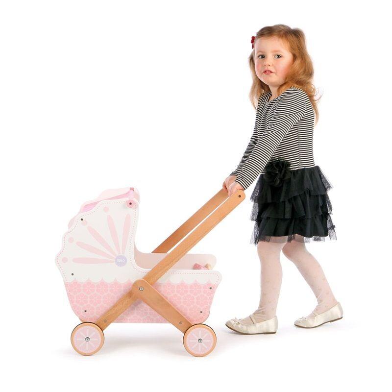 baa0628382bf1 Tidlo Drevený kočík pre bábiky ružový | Originalnehracky.sk