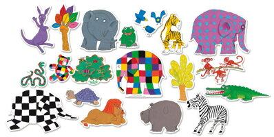Vilac Drevené magnetky slon Elmer 20ks 74bc818cc00