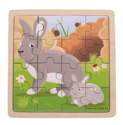 Bigjigs Toys puzzle - Zajac so zajačikom 16ks